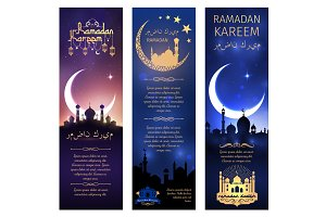 Vector greeting banners set for Ramadan Kareem