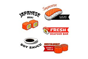 Vector icons for Japanese restaurant or sushi bar