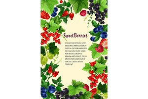 Vector poster of fresh sweet berries