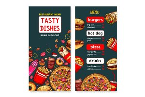 Vector menu template of fast food restaurant