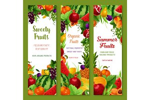 Vector banners with fresh tropical exotic fruits