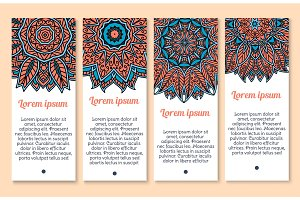 Vector banners set of paisley or mandala pattern