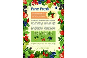 Vector poster of farm fresh berries and fruits