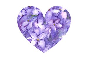 Watercolor lilac flower heart love