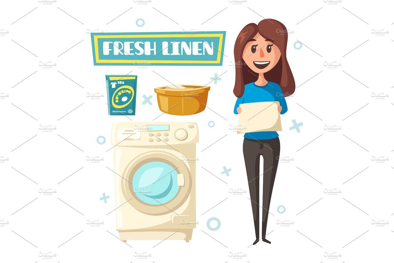 Laundry Service Poster Design Illustrations Creative Market