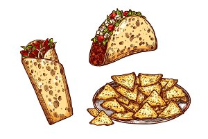 Vector sketch icons fast food snacks tacos burrito
