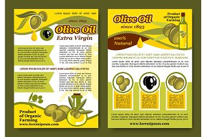 Vector posters for olive oil organic product