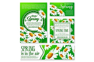 Spring flowers banner and greeting card template