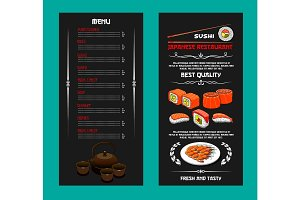 Vector menu of Japanese restaurant or sushi bar