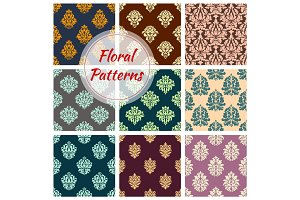 Seamless floral patterns of vector flower ornament