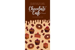 Vector banner for chocolate desserts cafe