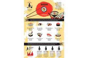 Vector infographics for Japanese sushi seafood