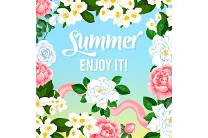 Summer time flowers vector greeting card