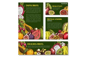 Vector templates of exotic fresh tropical fruits