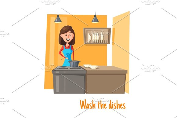 Housewife At Kitchen Washing Dishes Vector Woman