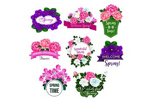 Spring flower frame icon with rose, crocus, peony