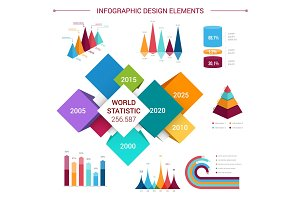 Vector flat infographics elements template