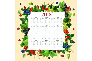 Vector calendar 2018 of fresh berries and fruits