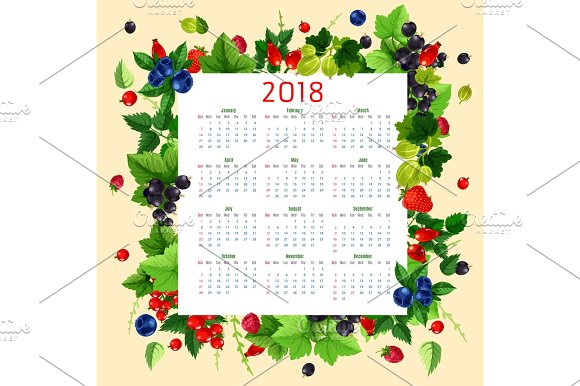 Vector Calendar 2018 Of Fresh Berries And Fruits