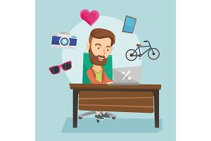 Man shopping online vector illustration.