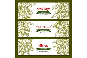 Vector banners for extra virgin olive oil product