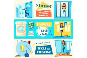 House cleaning service vector flat banners set