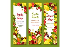 Vector banners with exotic fresh tropical fruits