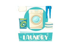 Vector laundry and washing machine and linen