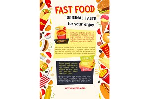 Vector poster for fast food restaurant
