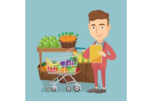 Man with a shopping list vector illustration.