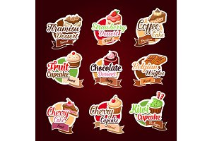 Vector stickers for bakery shop desserts