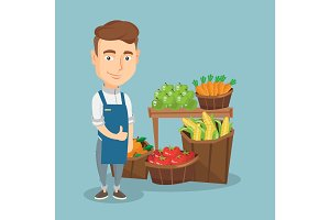 Friendly supermarket worker vector illustration.