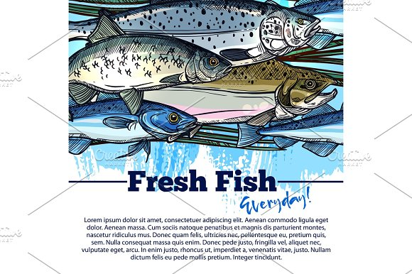 Vector Fishing Poster With Fish Catch