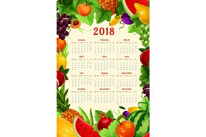 Vector calendar 2018 fresh tropical exotic fruits
