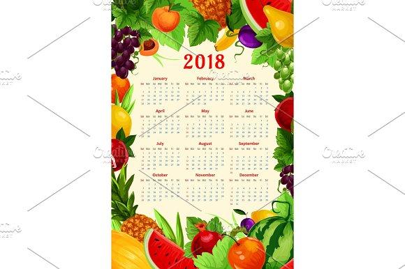 Vector Calendar 2018 Fresh Tropical Exotic Fruits