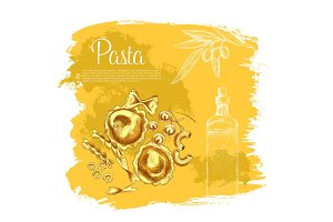 Vector poster of pasta and Italian olive oil