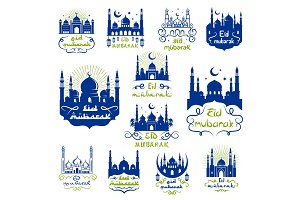 Eid Mubarak, Ramadan Kareem greetings icon set