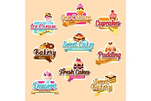 Bakery shop pastry desserts vector stickers set