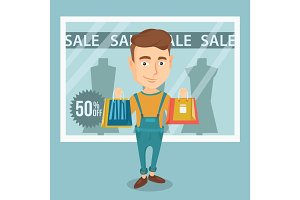 Man shopping on sale vector illustration.