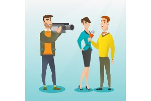 TV interview vector illustration.