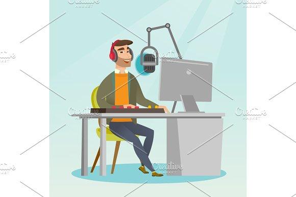 Dj Working On The Radio Vector Illustration
