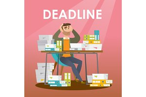 Businessman has a problem with a deadline.