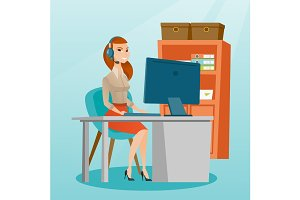 Business woman with headset working at office.