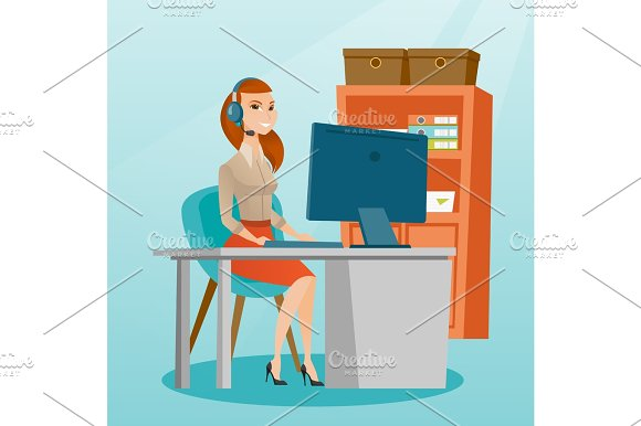 Business Woman With Headset Working At Office