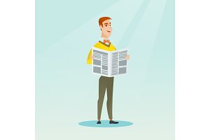 Man reading a newspaper vector illustration.