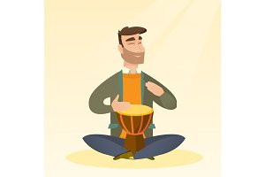Man playing the ethnic drum vector illustration.