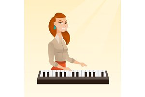 Woman playing the piano vector illustration.