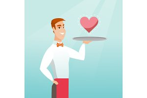 Waiter carrying a tray with a heart.
