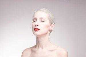 one woman, pale white skin beauty