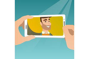 Young man making selfie vector illustration.